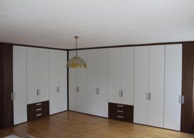 Schlafzimmer-Eckschrank Weiß Lack mit europäischen Nußbaum